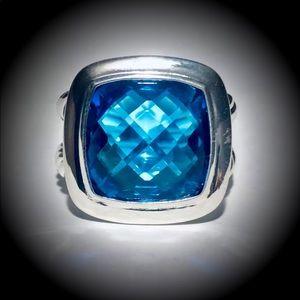 David Yurman Albion  Silver Ring 14mm Blue Topaz